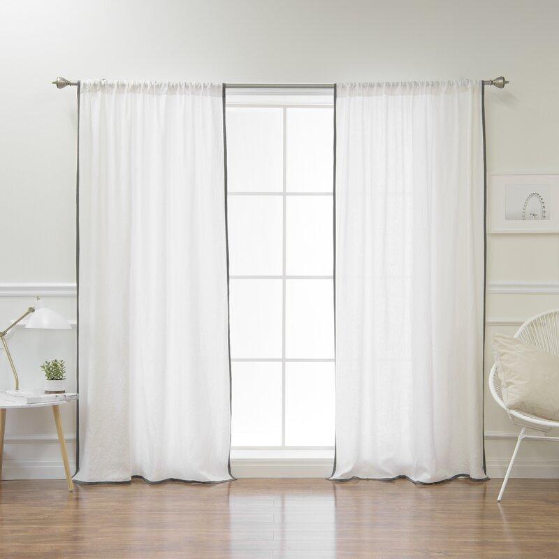 Montezuma Belgian Flax Linen Border Solid Semi Sheer Rod Pocket Single  Curtain Panel With Belgian Sheer Window Curtain Panel Pairs With Rod Pocket (View 39 of 46)