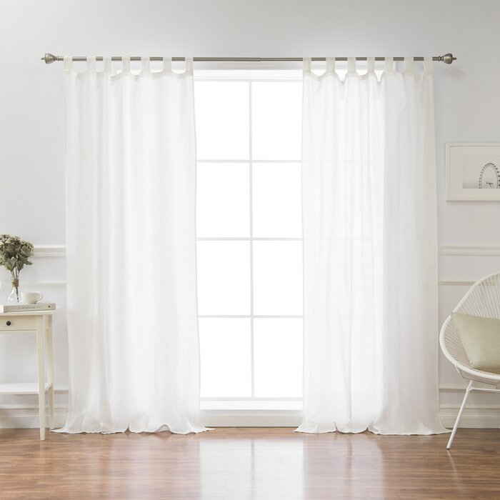 Montezuma Flax Solid Semi Sheer Tab Top Single Curtain Panel With Regard To Tab Top Sheer Single Curtain Panels (#25 of 50)