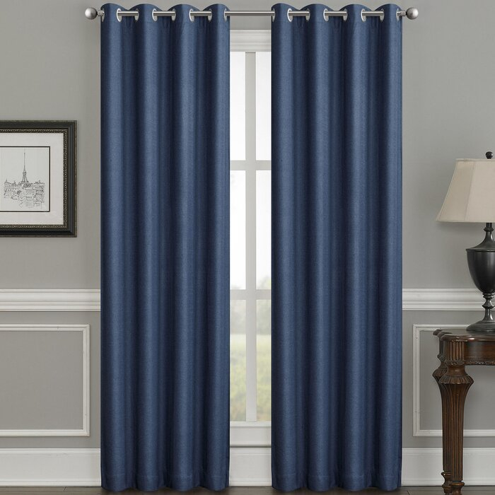 Moravian Weave Solid Room Darkening Thermal Grommet Single Curtain Panel In Jacob Tab Top Single Curtain Panels (View 18 of 23)