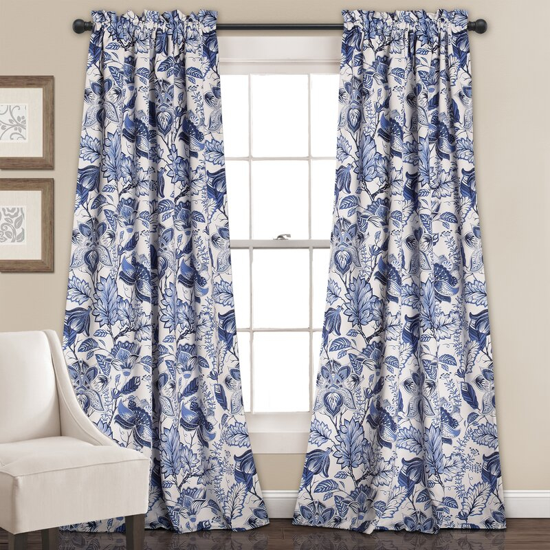 Moretinmarsh Floral Semi Sheer Thermal Rod Pocket Curtain Panels Within Rod Pocket Curtain Panels (View 23 of 34)
