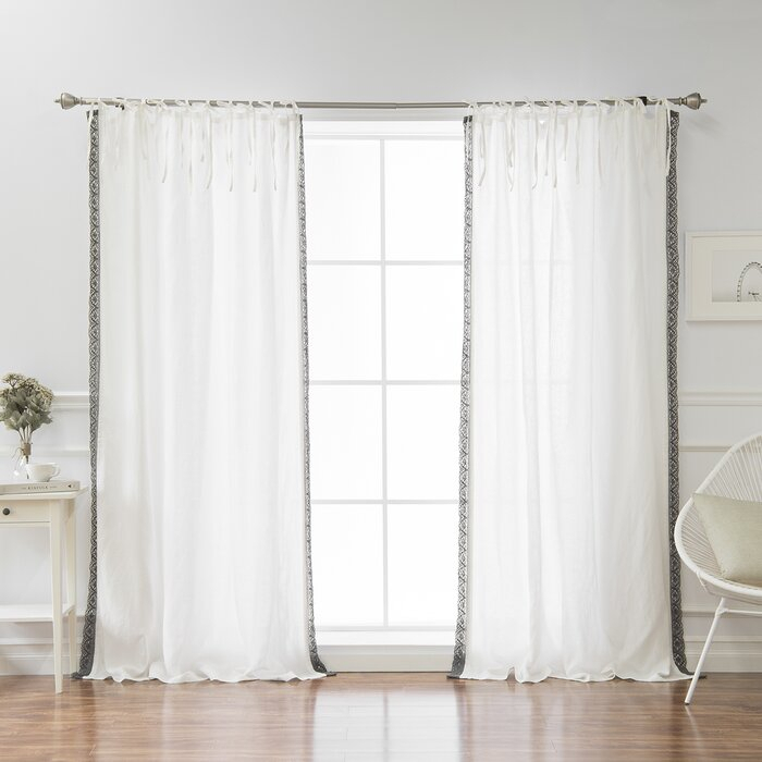 Morganton Belgian Flax Linen Lace Trim Solid Semi Sheer Tab Top Single  Curtain Panel With Belgian Sheer Window Curtain Panel Pairs With Rod Pocket (View 40 of 46)