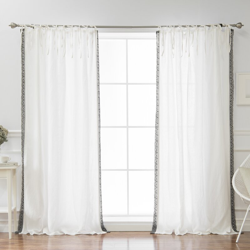 Morganton Belgian Flax Linen Lace Trim Solid Semi Sheer Tab Top Single  Curtain Panel With Regard To Tab Top Sheer Single Curtain Panels (#26 of 50)
