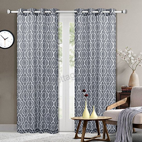Moroccan Pattern Linen Blend Curtains, Geometric Lattice For Geometric Print Textured Thermal Insulated Grommet Curtain Panels (View 31 of 45)