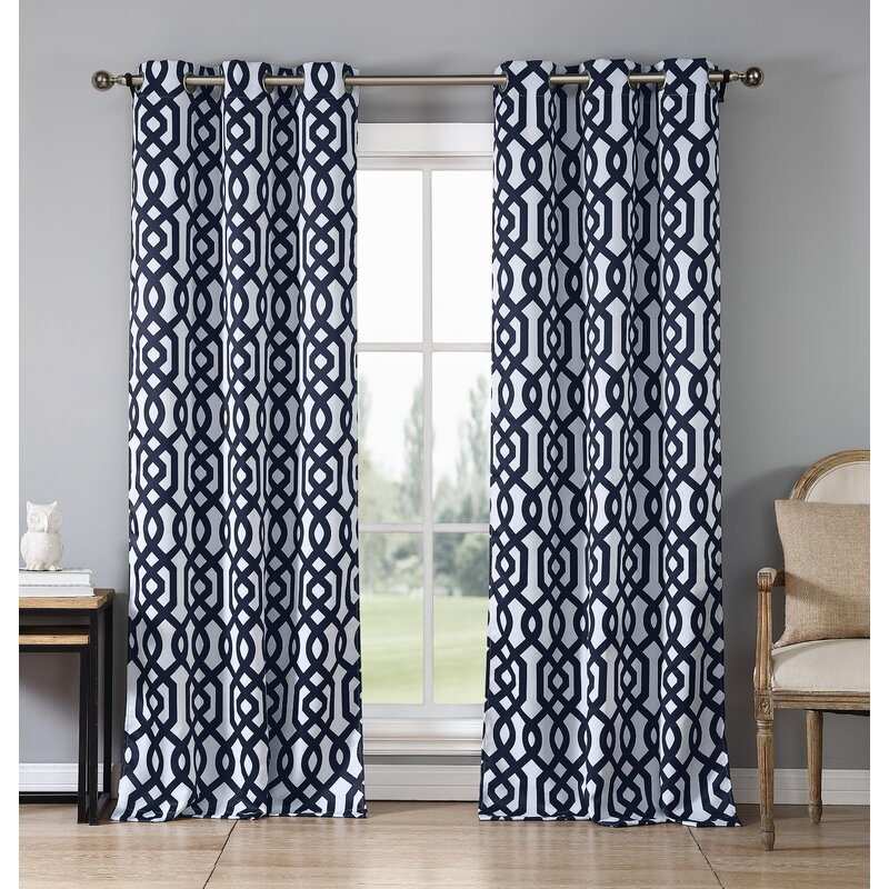 Morton Geometric Blackout Grommet Curtain Panels Pertaining To Blackout Grommet Curtain Panels (View 17 of 40)
