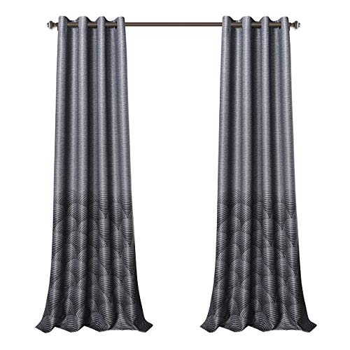 Mysky Home Print Curtains For Bedroom Grommet Top Thermal Insulated Ripple  Printed Room Darkening Curtain Panel For Living Room (Grey, 52 Inch Width Within Grey Printed Curtain Panels (View 34 of 48)