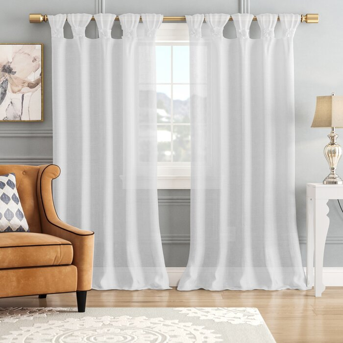 Mysliwiec Floral Twist Solid Semi Sheer Tab Top Single Curtain Panel Inside Tab Top Sheer Single Curtain Panels (#27 of 50)