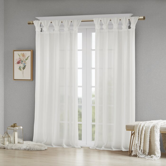 Mysliwiec Floral Twist Solid Semi Sheer Tab Top Single Curtain Panel With Regard To Tab Top Sheer Single Curtain Panels (#28 of 50)