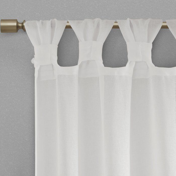 Mysliwiec Floral Twist Solid Semi Sheer Tab Top Single Intended For Elowen White Twist Tab Voile Sheer Curtain Panel Pairs (View 24 of 36)