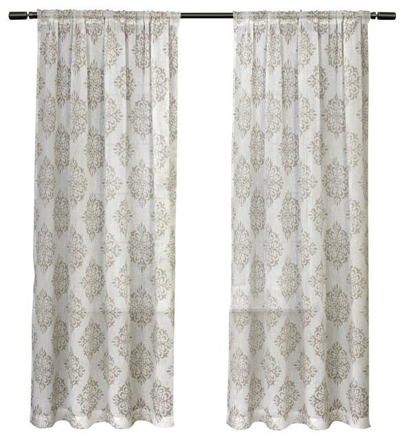 "Nagano Belgian Medallion Print Rod Pocket Curtain Panel Pair, Taupe, 54"" X  84"" Intended For Belgian Sheer Window Curtain Panel Pairs With Rod Pocket (View 42 of 46)"