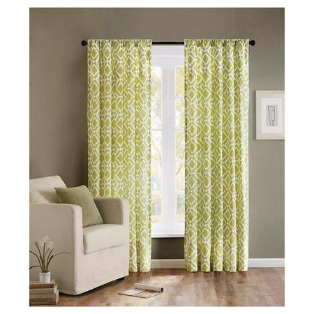 """Natalie Global Fretwork Curtain Panel – Green (42""""x84 Intended For Ella Window Curtain Panels (View 41 of 50)"""