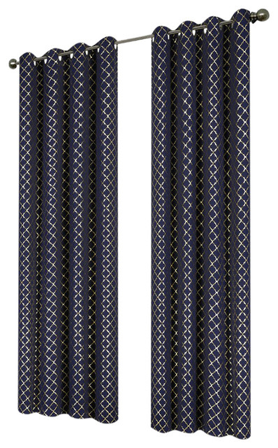 "Natalie Printed 55""x95"" Grommet Blackout Curtain, Navy/gold For Kaiden Geometric Room Darkening Window Curtains (#29 of 39)"