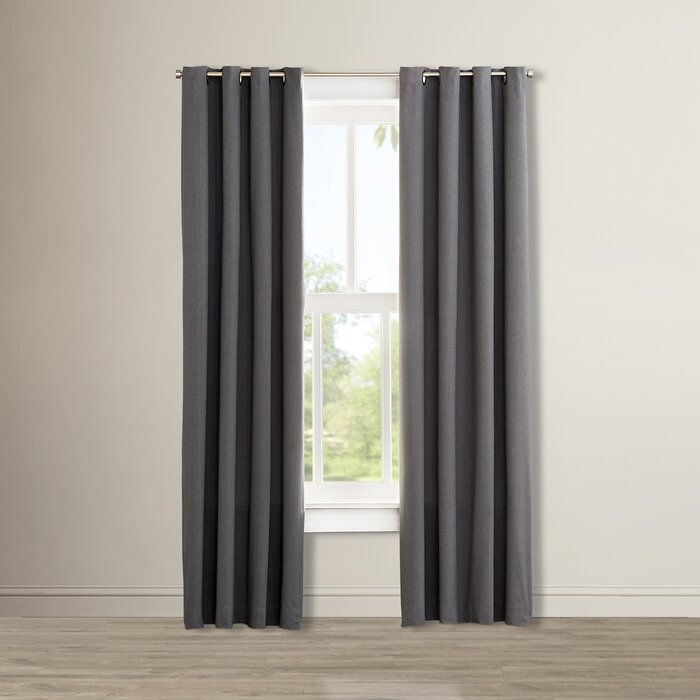 Nathaly Solid Max Blackout Thermal Grommet Curtain For Bark Weave Solid Cotton Curtains (View 28 of 50)