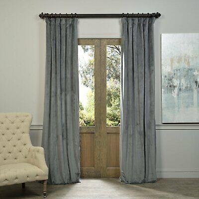 Natural Grey Blackout Velvet Pole Pocket Single Panel Within Signature Ivory Velvet Blackout Single Curtain Panels (View 49 of 50)