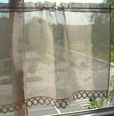 Natural Linen Curtain Vintage Lace Cafe Washed Gray Kitchen Regarding Sugar Creek Grommet Top Loha Linen Window Curtain Panel Pairs (View 43 of 50)