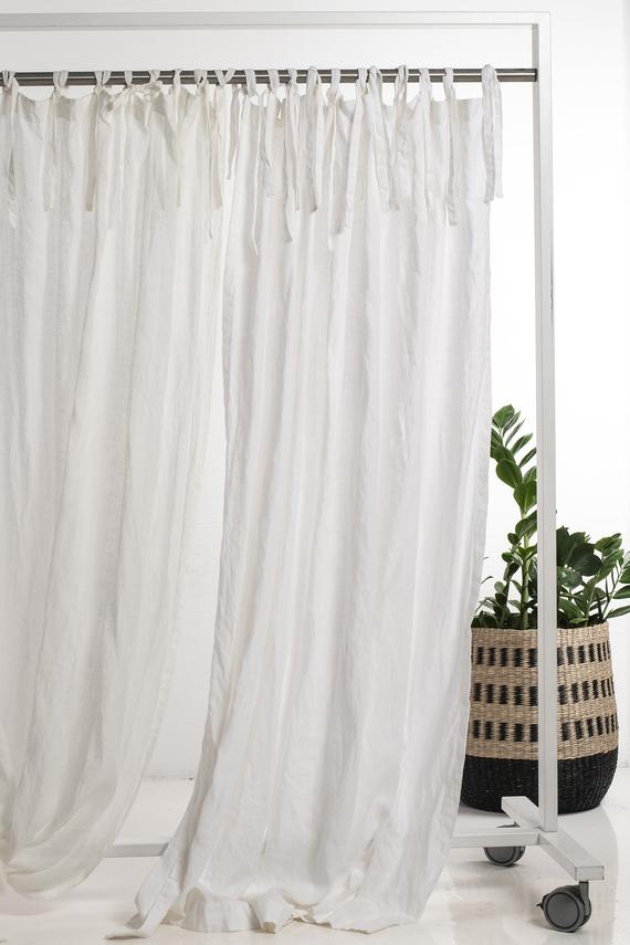 Natural Linen Curtains, 22 Colors, Custom Drapes, Curtains With Ties,  Unlined Blackout Curtain Panel, Privacy Lining Lined Window Treatments Pertaining To Signature French Linen Curtain Panels (#28 of 50)