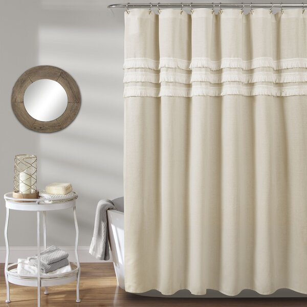Natural Linen Shower Curtain | Wayfair Within Classic Hotel Quality Water Resistant Fabric Curtains Set With Tiebacks (#24 of 50)