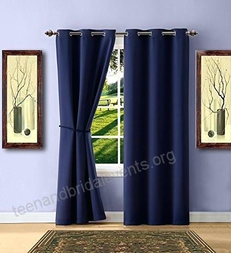 Navy And White Blackout Curtains Warm Home Designs 1 Pair 2 In Insulated Grommet Blackout Curtain Panel Pairs (View 38 of 50)