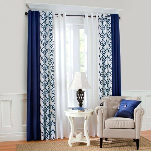 Navy And White Curtains Grommet Top Insulated Thermal For Insulated Cotton Curtain Panel Pairs (#27 of 50)