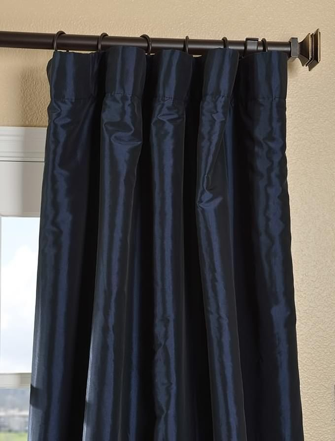 Navy Blue Faux Silk Taffeta Curtain In 2019 | Navy Blue Pertaining To Solid Faux Silk Taffeta Graphite Single Curtain Panels (#38 of 50)