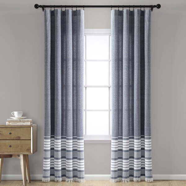 Navy Tassel Curtain | Wayfair In Ombre Stripe Yarn Dyed Cotton Window Curtain Panel Pairs (View 2 of 31)