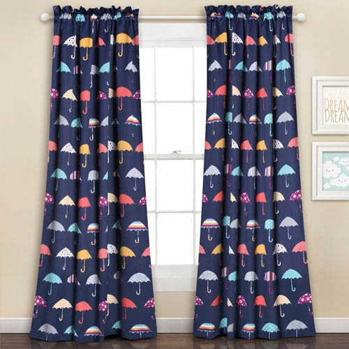 Navy Umbrella 84 X 52 Inch Room Darkening Window Curtain Set Intended For Rowley Birds Room Darkening Curtain Panel Pairs (View 47 of 49)
