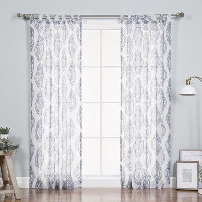 Nellie Medallion Nature/floral Sheer Tab Top Single Curtain For Jacob Tab Top Single Curtain Panels (View 20 of 23)
