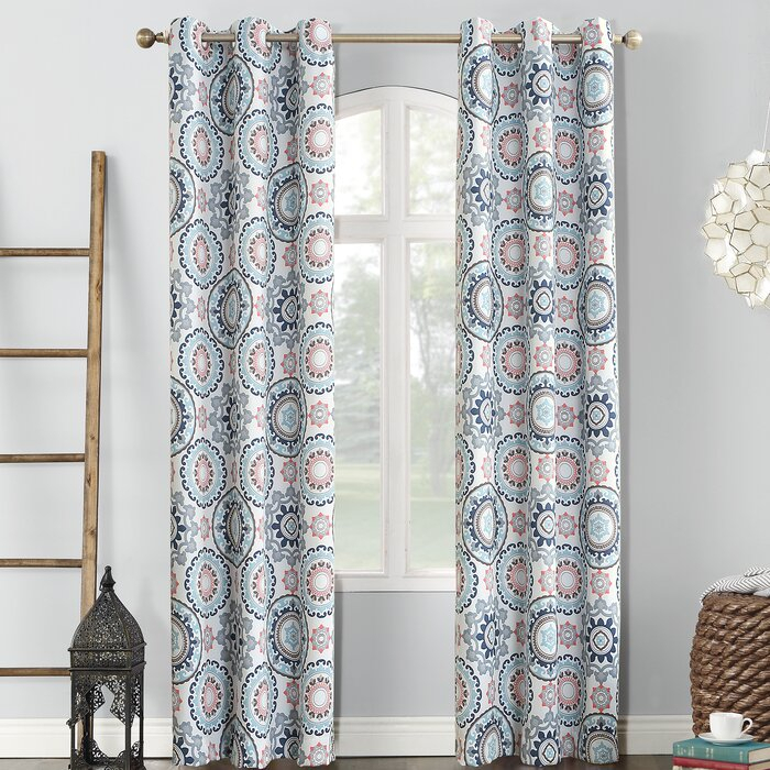 Nepal Global Print Thermal Blackout Grommet Single Curtain Panel Within Total Blackout Metallic Print Grommet Top Curtain Panels (View 21 of 50)