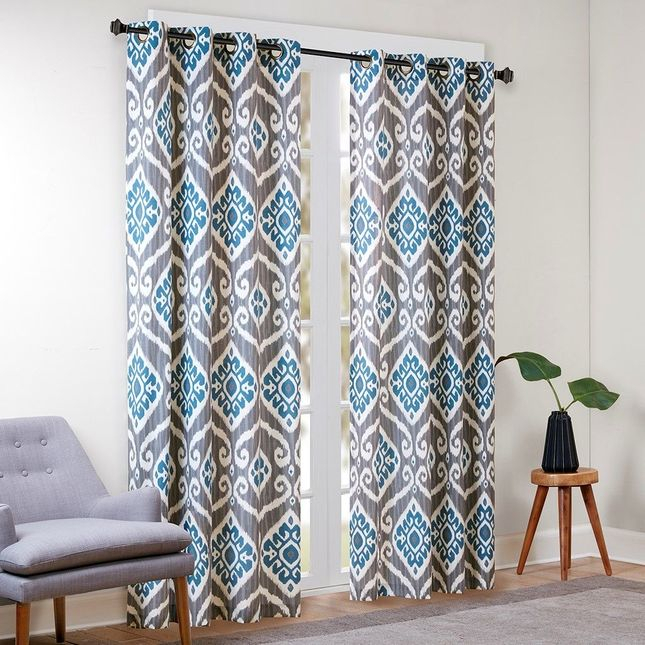 "New 63"" Panel Nadie Printed Ikat Window Curtain Cotton Blue In Ikat Blue Printed Cotton Curtain Panels (#38 of 50)"