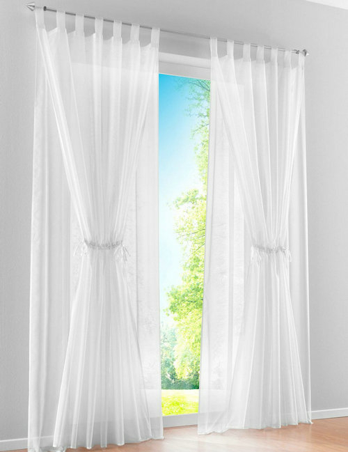 New Mediterranean Double Layer Design Sheer Voile Living Regarding Double Layer Sheer White Single Curtain Panels (View 36 of 50)