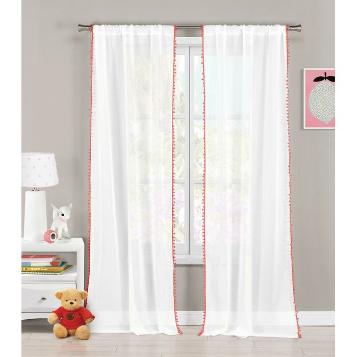 New Milford Solid Sheer Rod Pocket Curtain Panel Throughout Tassels Applique Sheer Rod Pocket Top Curtain Panel Pairs (View 21 of 45)