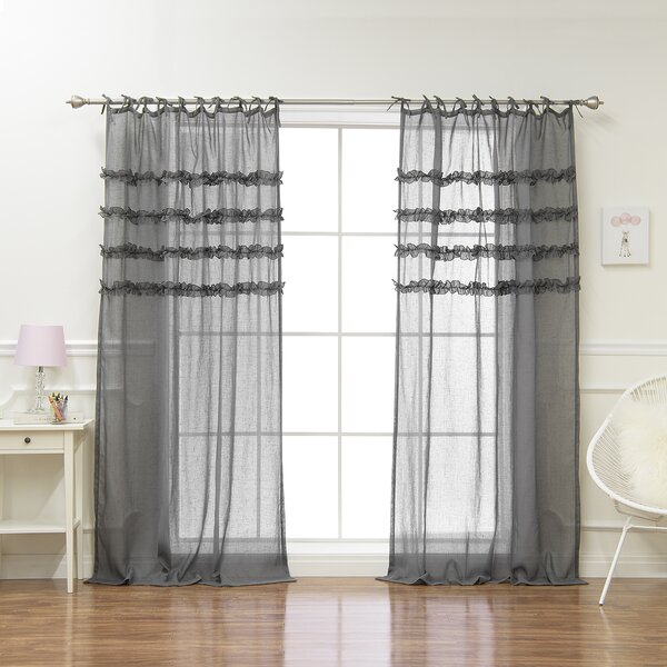 Newington Ruffle Solid Semi Sheer Tab Top Panel Pairs Intended For Ruffle Diamond Curtain Panel Pairs (View 23 of 50)