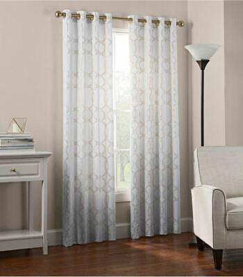 "Newport Wave 72"" Grommet Top Window Curtain Panel In Gold | Ebay In Intersect Grommet Woven Print Window Curtain Panels (View 47 of 50)"