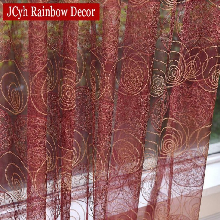 Nice Sheer Maroon Curtains Decorating With Vcny Infinity Pertaining To Infinity Sheer Rod Pocket Curtain Panels (#27 of 50)