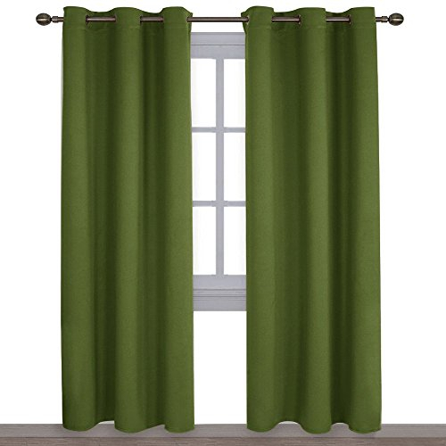 Nicetown Thermal Insulated Solid Grommet Blackout Curtains/drape For Livingroom (1 Pair,4284 Inch,olive Green) Inside Thermal Insulated Blackout Curtain Pairs (View 6 of 50)