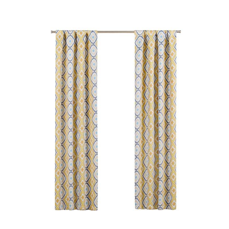 Nicholls Geometric Blackout Thermal Rod Pocket Single Curtain Panel Regarding Geometric Print Textured Thermal Insulated Grommet Curtain Panels (View 32 of 45)