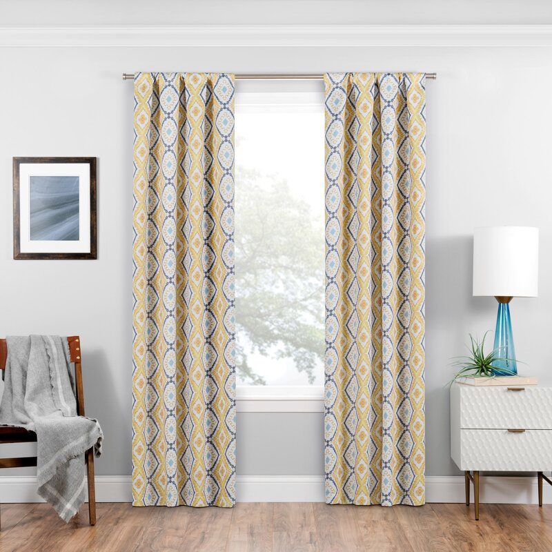 Nicholls Geometric Blackout Thermal Rod Pocket Single Curtain Panel Within Single Curtain Panels (View 24 of 36)