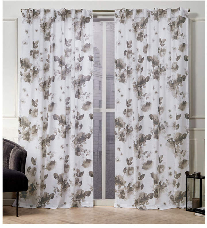 Nicole Miller Kristy Floral Cotton Hidden Tab Top 50 X 96 Throughout Andorra Watercolor Floral Textured Sheer Single Curtain Panels (View 31 of 46)