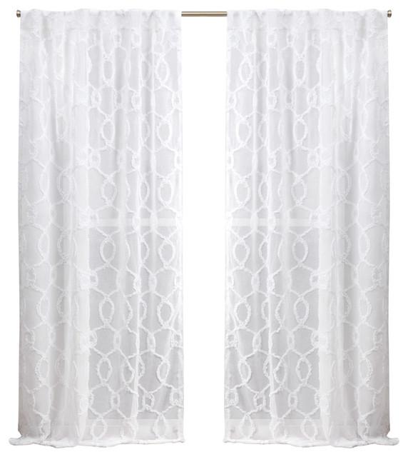 Nicole Miller Soft Trellis Hidden Tab Top Curtain Panel Pair, White, 54X96 For Ruffle Diamond Curtain Panel Pairs (View 10 of 50)