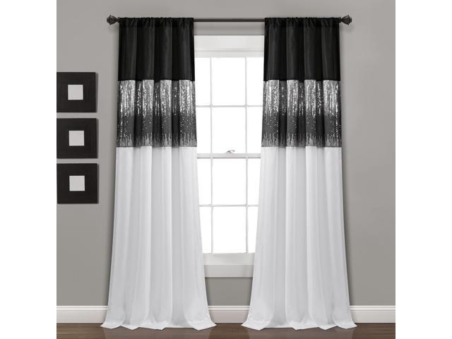 Night Sky Window Curtain Panel Single Black/white 42X84 – Newegg Within Wilshire Burnout Grommet Top Curtain Panel Pairs (#36 of 45)