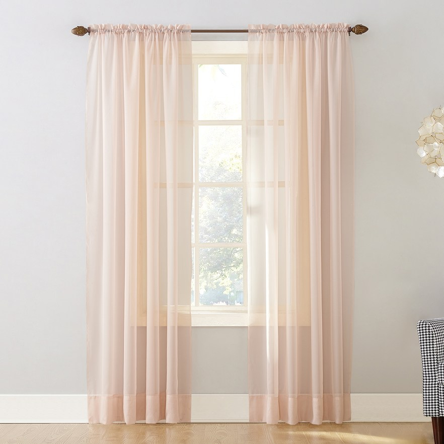 No 918 1 Panel Emily Solid Sheer Voile Window Curtain Regarding Emily Sheer Voile Solid Single Patio Door Curtain Panels (View 17 of 50)