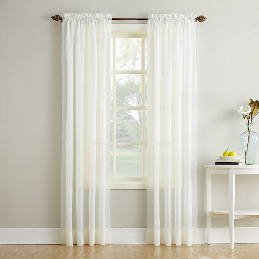 No 918 Erica Crushed Sheer Voile Window Curtain, Beig/green With Regard To Erica Crushed Sheer Voile Grommet Curtain Panels (#26 of 50)