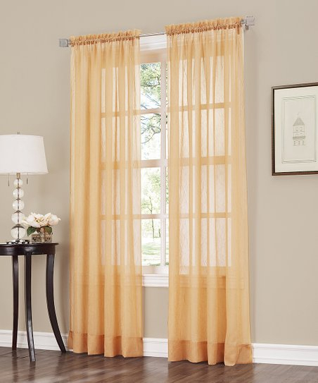 No 918Lichtenberg Gold Erica Crushed Voile Curtain Panel With Regard To Erica Sheer Crushed Voile Single Curtain Panels (#29 of 41)