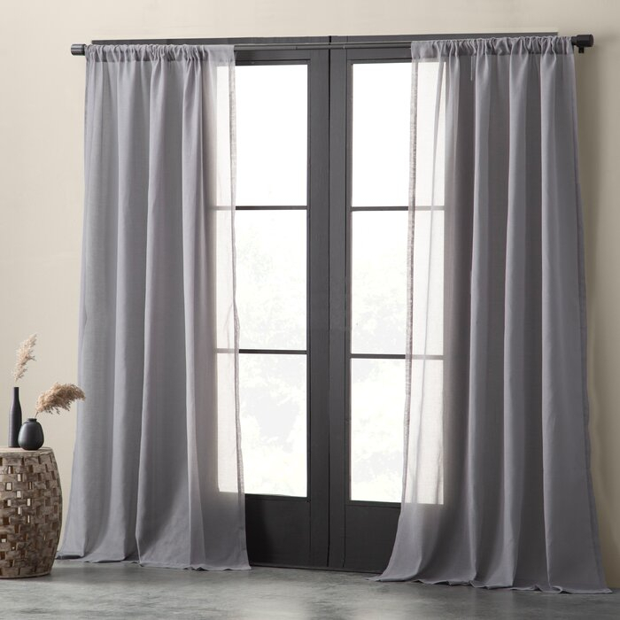 Nolan Cotton Blend Textured Weave Solid Sheer Rod Pocket Single Curtain Panel With Solid Cotton Curtain Panels (View 3 of 47)