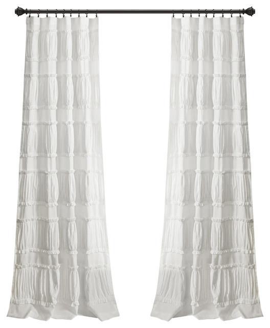 """Nova Ruffle Wp White Pair 42""""x84"""" Within Lydia Ruffle Window Curtain Panel Pairs (View 12 of 43)"""