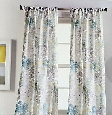 Nwt Dkny Blue Teal Gray Lime Floral Fields Window Curtain Panel 54X84 Pair  | Ebay Pertaining To Knotted Tab Top Window Curtain Panel Pairs (#27 of 50)