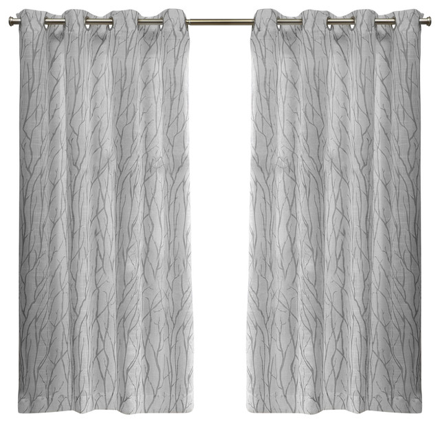Oakdale Grommet Top Window Curtain Panel Pair, 54X63, Silver With Wilshire Burnout Grommet Top Curtain Panel Pairs (#37 of 45)