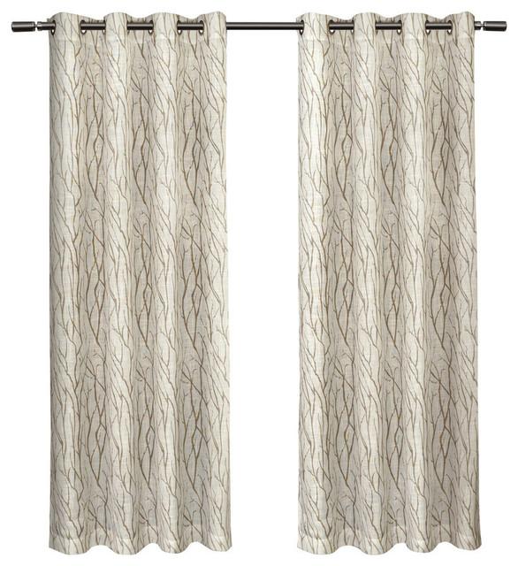 "Oakdale Textured Motif Grommet Top Window Curtain Panel Pair, Taupe, 54"" X 84"" Regarding Oakdale Textured Linen Sheer Grommet Top Curtain Panel Pairs (View 2 of 41)"