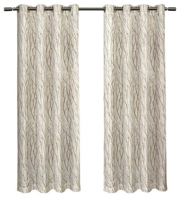 "Oakdale Textured Motif Grommet Top Window Curtain Panel Pair, Taupe, 54"" X  84"" With Regard To Forest Hill Woven Blackout Grommet Top Curtain Panel Pairs (#35 of 45)"