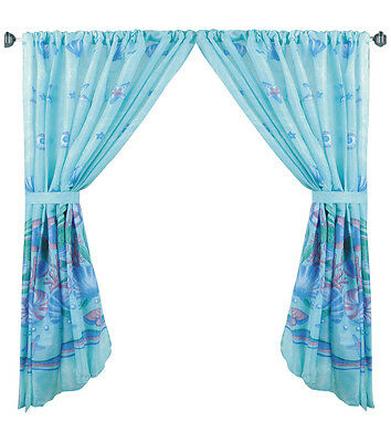 Oceanic Blue Fabric Window Curtain With Tie Backs Fwc Oc | Ebay For Classic Hotel Quality Water Resistant Fabric Curtains Set With Tiebacks (#26 of 50)
