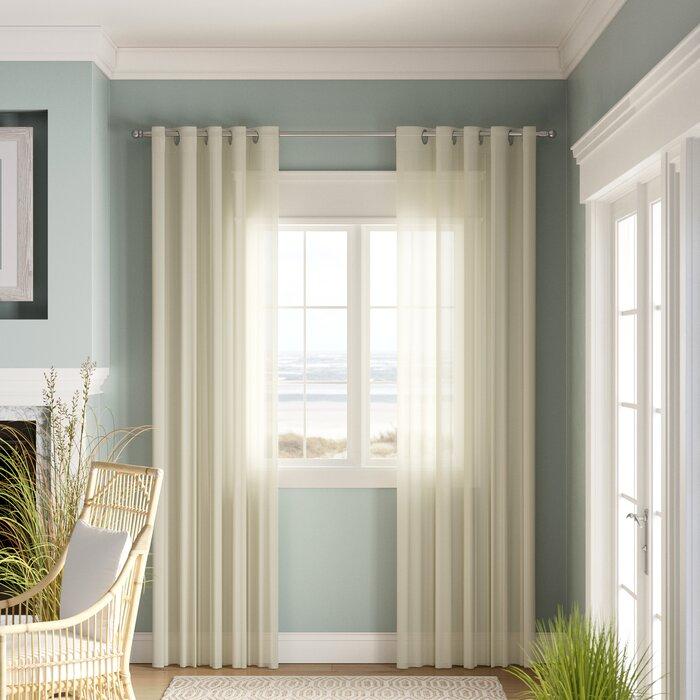 Odessa Solid Sheer Grommet Single Curtain Panel For Patio Grommet Top Single Curtain Panels (#19 of 38)